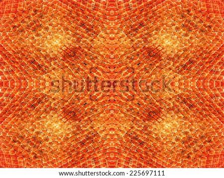 Orange and brown snake skin pattern background - stock photo