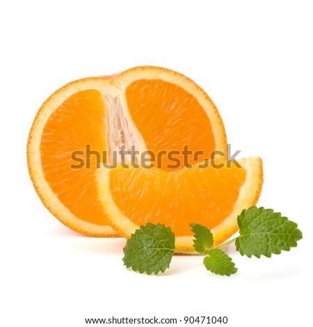 Orange and citron mint leaf isolated on white background - stock photo