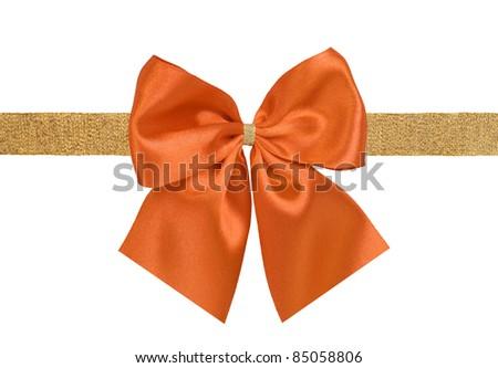 orange and golden gift satin ribbon bow on white background - stock photo