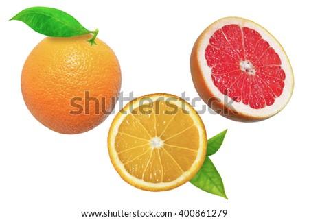 Orange and grapefruit on white background with leaves - stock photo