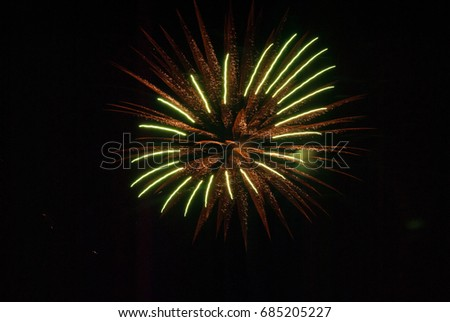 orange and green fireworks
