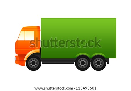 Orange and green truck