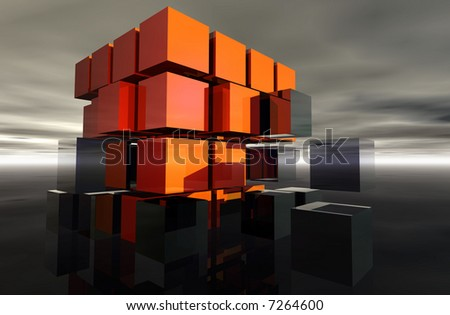 Orange and grey cubes making a larger cube. - stock photo