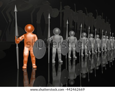 Orange and grey mans on black reflective background. - stock photo