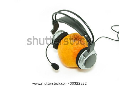 orange and headphones