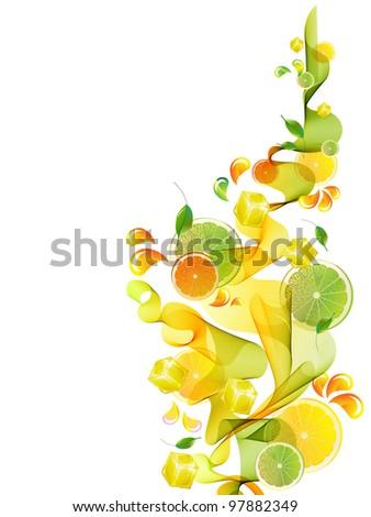 Orange and lime juice splash with abstract wave, background illustration - stock photo