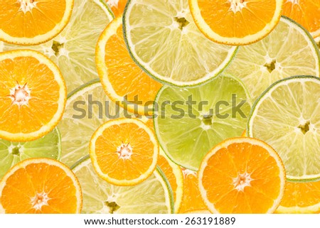 Orange And Lime Slice Abstract Seamless Pattern - stock photo