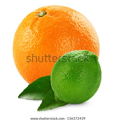 Orange and lime with leaves isolated on white background
