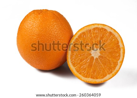 Orange and orange in the context on white background - stock photo