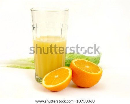 Orange and orange juice in a glass