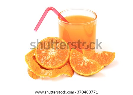 Orange and orange juice isolated on white background - stock photo