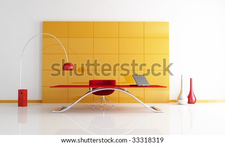 orange and red office space with black laptop on desk -rendering - stock photo