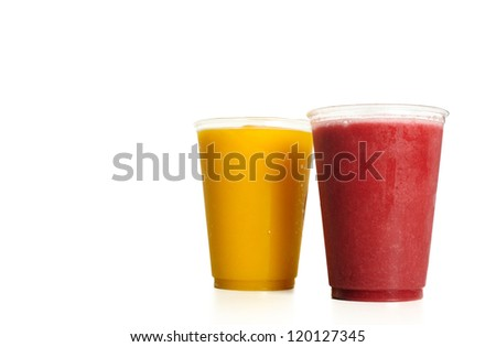 Orange and strawberry smooties isolated - stock photo