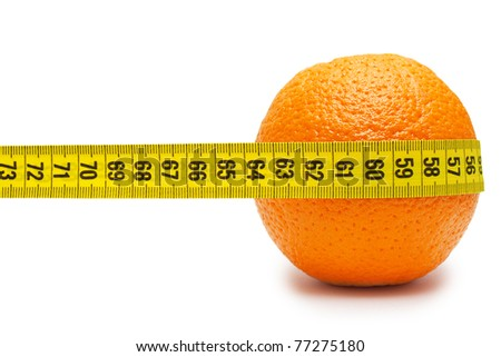 Orange and tape measure isolated on white - stock photo
