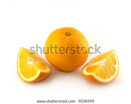 Orange and two halves isolated on white background. - stock photo