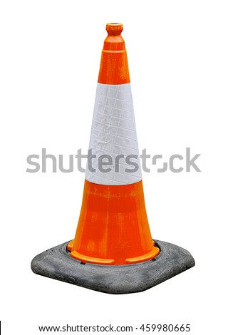 Orange and White reflective traffic cone isolated against a white background great concept for hazards and safety.