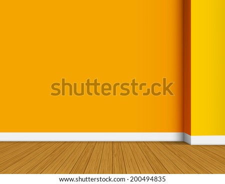 Orange and yellow empty interior background with copy space. Raster copy - stock photo