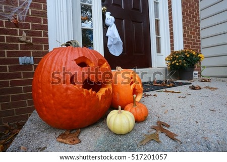 Orange and Yellow Halloween Pumpkins on Doorstep of Town House with Red Brick Walls Autumn & Orange Yellow Halloween Pumpkins On Doorstep Stock Photo 517201057 ...