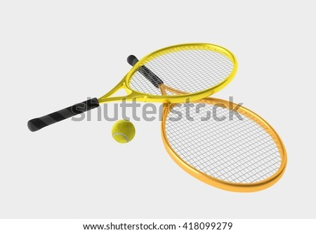 Orange and yellow tennis rackets and yellow ball. Sport item for leisure activity. 3D illustration