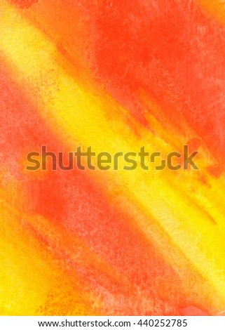 Orange and yellow watercolor background, texture. Grunge paper. Theme backdrop for scrapbook elements with space for text. - stock photo