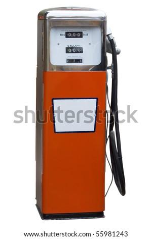 Orange Antique Gas Pump Isolated on White - stock photo