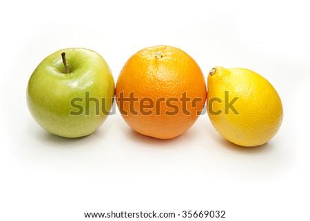 Orange Apple and Lemon - stock photo