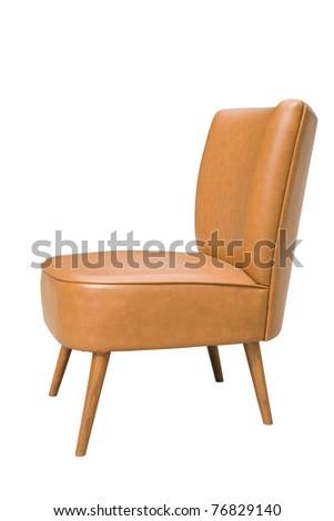 Orange armchair  on a white background - stock photo