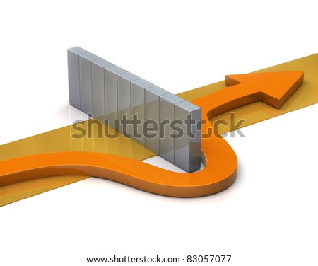 Orange arrow go around the wall - stock photo