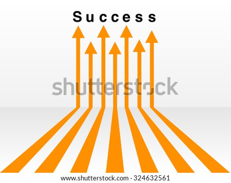Orange arrow leading to the word success on a white background