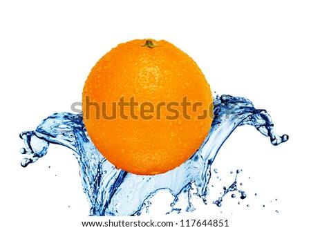 orange at water splash - stock photo
