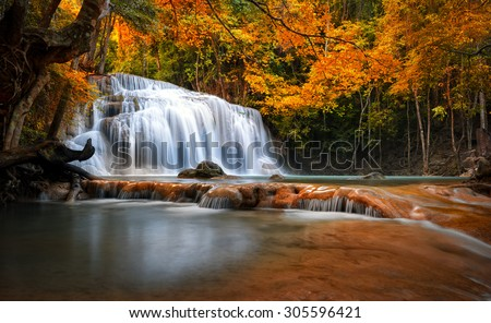 Orange autumn leaves on trees in forest and mountain river flows through stones and waterfall cascades - stock photo