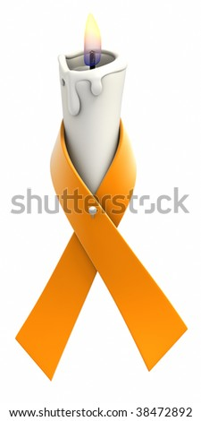 Orange awareness ribbon wrapped around candle on white background. Clipping path included. - stock photo
