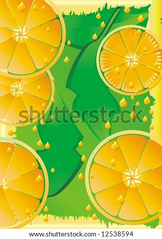 Orange background illustration with juice drops - resterized version of vector image 12138247. - stock photo