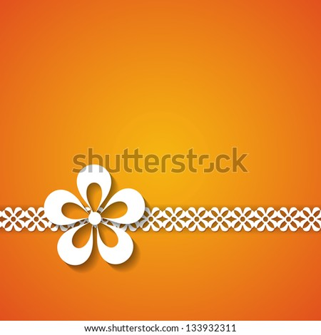 orange background with a lace and a flower (raster version of the vector) - stock photo