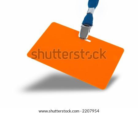 Orange badge and blue lanyard isolated against white background - stock photo
