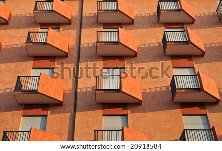 Orange balconies - stock photo