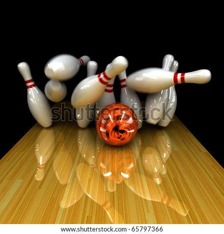 Orange ball does strike! Physically correct simulation of swirling strike in bowling with the real 3D motion blur on - stock photo