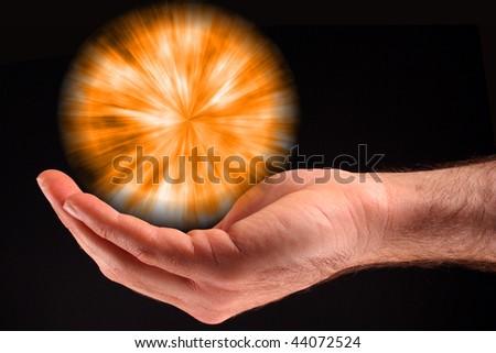 Orange Ball of Light - stock photo