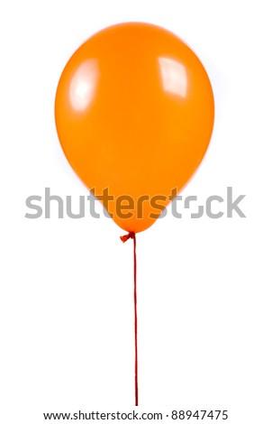 Orange balloon on white background - stock photo