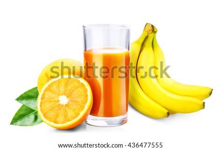 orange, banana juice isolated on white background clipping path - stock photo