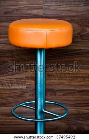 orange bar stool - stock photo