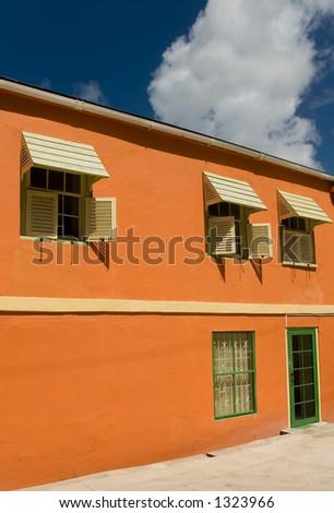 Orange Barbados House - stock photo