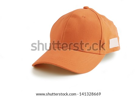 Orange baseball cap - stock photo