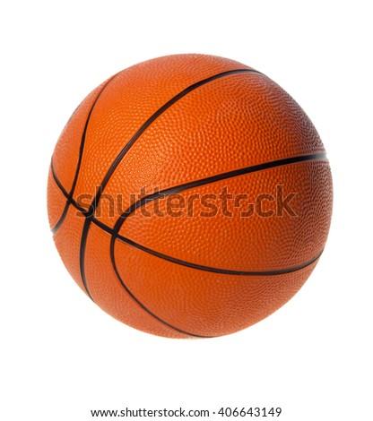 Orange  basket ball, isolated in white background. - stock photo