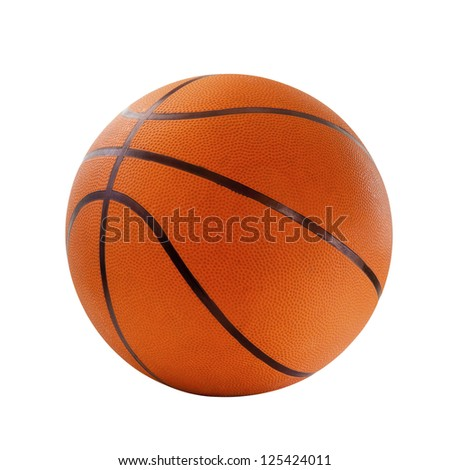 Orange  basket ball, isolated in white background and path - stock photo