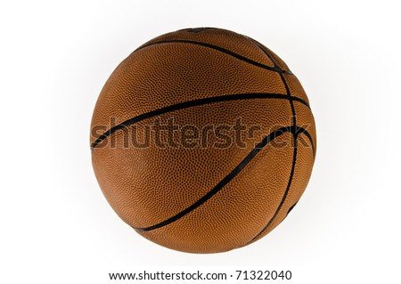 Orange basket ball on the white background - stock photo
