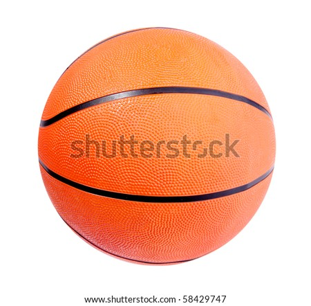 Orange basket ball over white background. Isolated image - stock photo