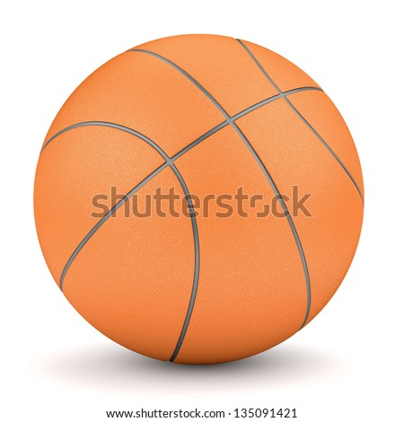 Orange basketball isolated on white background. Sport and fitness symbol. 3d render.