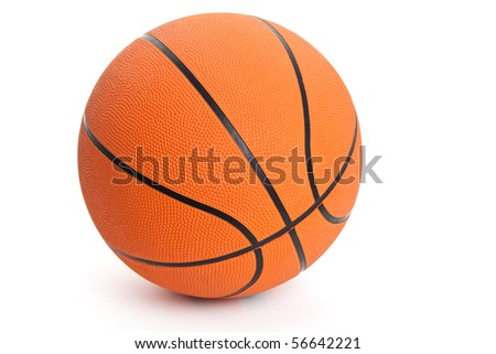 Orange Basketball with white background - stock photo