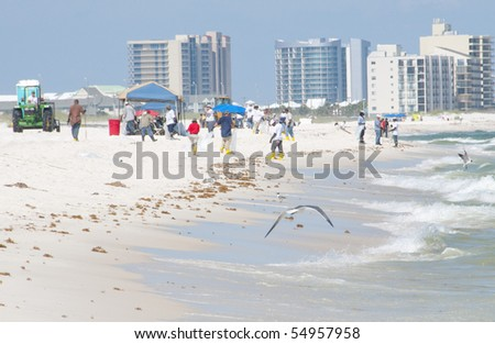 ORANGE BEACH, AL - JUNE 10:  Oil spill workers on the beaches of the Orange Beach, AL resort area on June 10, 2010  as oil washes ashore in the popular tourist region. - stock photo